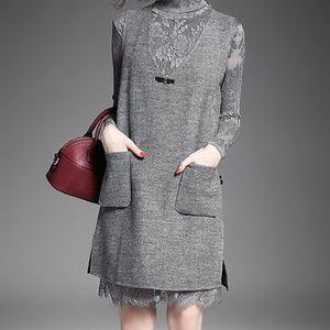 「Alaroo」Grey Wool Dress Overlay